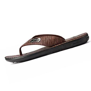 Homens sapatos Couro Ecológico Verão Chinelos e flip-flops Caminhada Combinação para Cinzento Marron