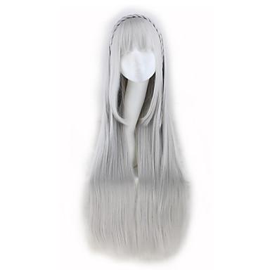 Ženy Dlouhý Stříbrná Rovné Umělé vlasy Bez krytky Karnevalová paruka Cosplay paruka Paruka Halloween paruky