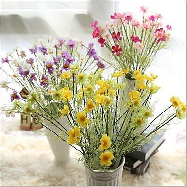 Flores artificiais 1 Ramo Estilo Europeu Margaridas Flor de Mesa