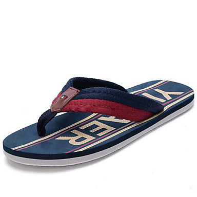 Herren Schuhe Stoff Gummi Frühling Komfort Slippers & Flip-Flops Für Normal Weiß Marinenblau Rot
