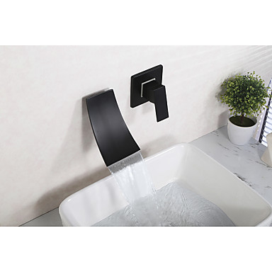 Välimeren Kolmiosainen Vesiputous Keraaminen venttiili Yksi kahva kaksi reikää Musta, Kylpyhuone Sink hana