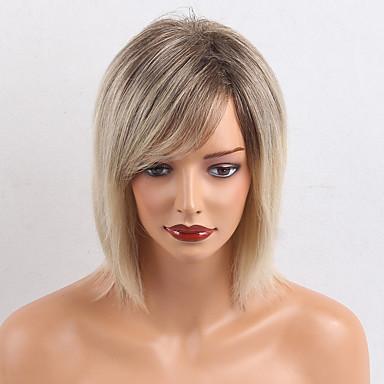 Perucas de cabelo capless do cabelo humano Cabelo Humano Liso Com Franjas Parte lateral Raízes Escuras Cabelo Ombre Médio Fabrico à