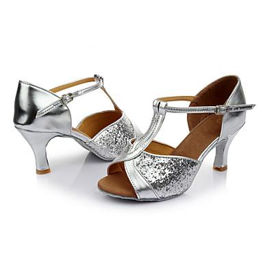 Mulheres Sapatos de Dança Latina Paetês Sandália Lantejoulas Salto Personalizado Personalizável Sapatos de Dança Prata / Interior / Couro