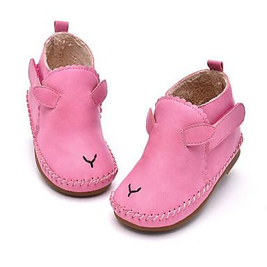 Tyttöjen kengät Tekonahka PU Kevät Syksy Ensikengät Tasapohjakengät Kävely Tarranauhalla Käyttötarkoitus Kausaliteetti Pinkki Vaalean
