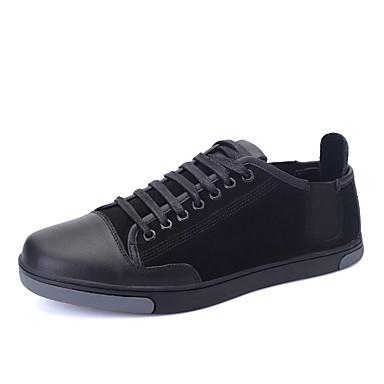 Herrn Schuhe Leder Frühling Herbst Komfort Sneakers Kombination für Sportlich Normal Draussen Schwarz Blau