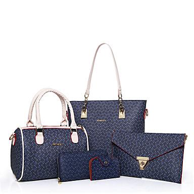 Mulheres Bolsas Couro Ecológico Conjuntos de saco 5 Pcs Purse Set para Todas as Estações Azul Branco Rosa Marron