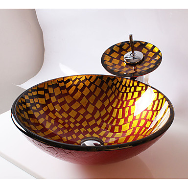 Moderní Kulatý dřez Materiál je Tvrzené sklo Koupelnový dřez