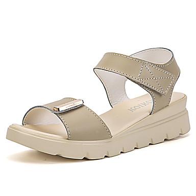 Damen Schuhe Leder Sommer Sandalen Walking Plattform Peep Toe für Weiß Beige