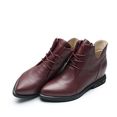 Mulheres Sapatos Pele Napa Pele Inverno Outono Conforto Botas Salto Baixo Dedo Apontado Cadarço para Social Festas & Noite Preto Vinho