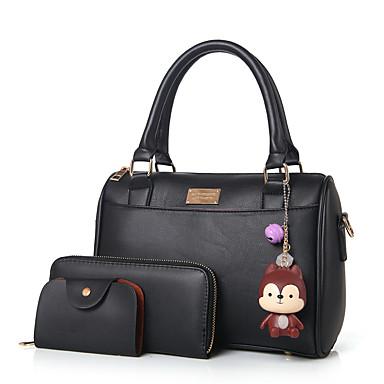 Damen Taschen PU Bag Set Reißverschluss für Normal Ganzjährig Schwarz Rosa Grau Amethyst