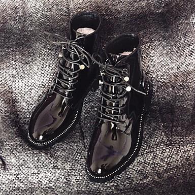 Damen Schuhe Leder Herbst Winter Komfort Stiefel Für Normal Schwarz