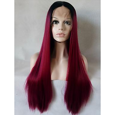 Cabelo Sintético perucas Reto Cabelo Ombre Frente de Malha Peruca Natural Médio Longo Marrom