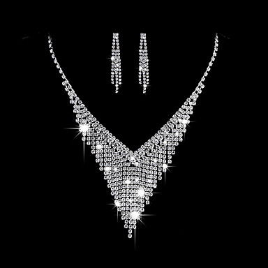 Women's AAA Cubic Zirconia Jewelry Set - Cubic Zirconia, Silver Fashion, Elegant Include Drop Earrings / Choker Necklace / Bridal Jewelry Sets Silver For Wedding / Party / Engagement