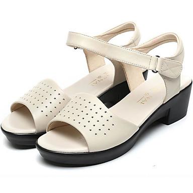 Naiset Sandaalit Kevät Nahka Valkoinen Musta Burgundi Tasapohja