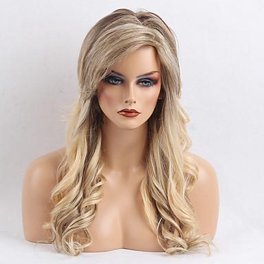 Human Hair Capless Parykker Menneskehår Bølget Frisure i lag / Med bangs / pandehår Side del Nuance Lang Maskinproduceret Paryk Dame