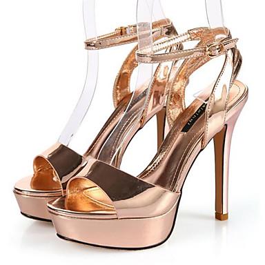 Naiset Kengät PU Kevät Comfort Sandaalit Käyttötarkoitus Kausaliteetti Hopea Vaaleanruskea