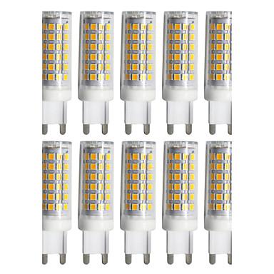 billige Elpærer-ywxlight® 10pcs g9 led lampe pære 9w 2835 smd ledet keramisk spotlight pære kjølig hvit varm hvit pære ac 220-240v