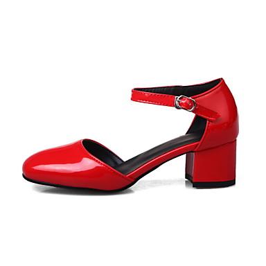 Printemps Femme Bout carré Rouge Bottier Cuir Verni Noir 05963949 de Automne Sandales Cheville Marche Chaussures Bride Gris Talon Boucle qrrwzt