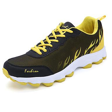 Homens sapatos Couro Ecológico Verão Conforto Tênis Caminhada Cadarço para Atlético Preto Cinzento Vermelho Verde