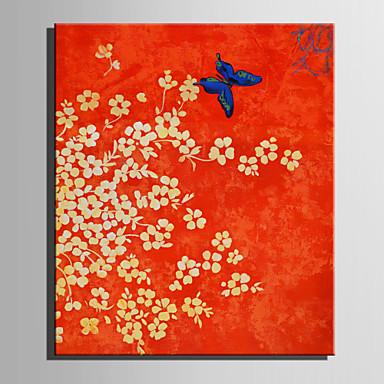 Pintados à mão Floral/Botânico Vertical, Retro Tela de pintura Pintura a Óleo Decoração para casa 1 Painel