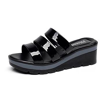 Naiset Kengät Nahka Kesä Comfort Sandaalit Paksu korko Avokärkiset korkokengät varten Kausaliteetti Musta Punainen Laivastosininen