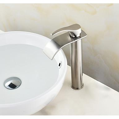 Conjunto Central Cascata Válvula Cerâmica Níquel Escovado, Torneira pia do banheiro