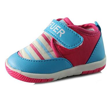 Baby Schuhe Kunstleder Frühling Herbst Komfort Flache Schuhe Walking Klettverschluss für Normal Fuchsia Rosa Farbbildschirm