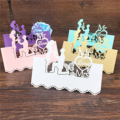 40pcs Bride And Groom Laser Cut Wedding Table Place Card Name Card Wedding Party Table Decoration Mr Mrs Love Heart Cards