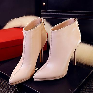 Naisten Kengät PU Talvi Bootsit Paksu korko varten Musta Punainen Pinkki