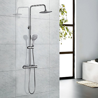 Moderní Secese a retro Vana a sprcha Dešťová sprcha Včetne sprchové hlavice Termostatický Mosazný ventil S dvěma otvory Dvěma uchy dva