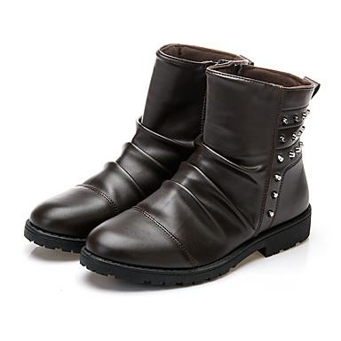 Herrn Schuhe PU Winter Frühling Sommer Herbst Komfort Leuchtende Sohlen Springerstiefel Stiefel Walking Niete Kombination für Normal