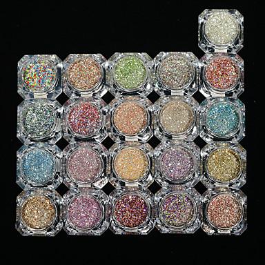1conjunto / 26pcs Purpurina 6 cores arte de unha Manicure e pedicure Elegante & Luxuoso / Brilho & Glitter / Nail Glitter