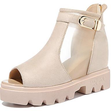 Naiset Sandaalit PU Kevät Musta Khaki Tasapohja