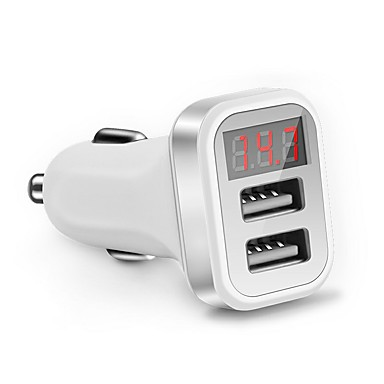LED Screen Car Charger for iPhone Samsung 2-Port USB Smart Car-Charger Adapter 2.1A Mobile Phone Adapter Charging
