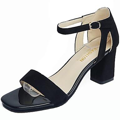 Mulheres Sapatos Cashmere Verão Sandálias Caminhada Salto Robusto Ponta quadrada Combinação para Preto Rosa claro