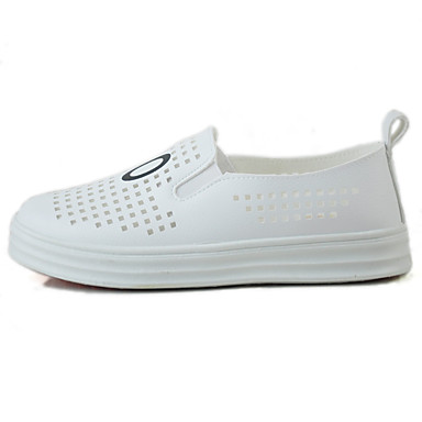 Damen Schuhe Mikrofaser Sommer Komfort Halbschuhe Loafers & Slip-Ons Walking Plattform Runde Zehe für Alltag Normal Weiß Schwarz
