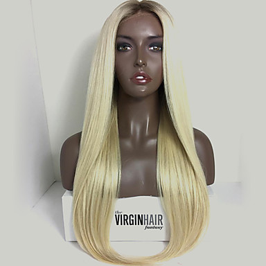 Remy Human Hair Glueless Lace Front / Lace Front Wig Brazilian Hair Straight / Silky Straight Wig 130% Natural Hairline / African American Wig / 100% Hand Tied Women's Short / Medium Length / Long