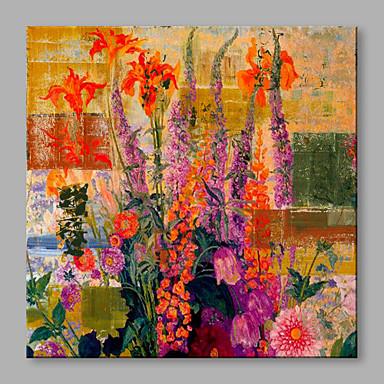 Maalattu Kukkakuvio/Kasvitiede Neliö, Kukka Abstrakti Art Deco/Retro Kangas Hang-Painted öljymaalaus Kodinsisustus 1 paneeli