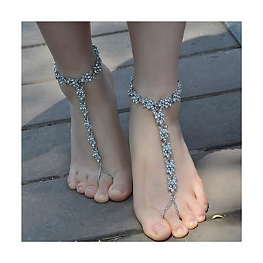 voordelige Dames Sieraden-Dames Blote voeten sandalen Bloem Modieus Imitatieparel Enkelring Sieraden Goud / Zilver Voor Dagelijks Causaal / Strass