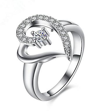 Mulheres Diamante sintético Prata Chapeada Coração Anel - Coração Coração Prata Anel Para Parabéns Presente Diário Casual
