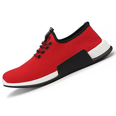 Homens sapatos Couro Ecológico Primavera Outono Conforto Tênis Caminhada Cadarço para Atlético Ao ar livre Preto Vermelho