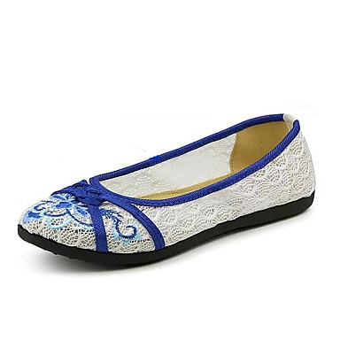 Mulheres Sapatos Tule Primavera Verão Rasos Sem Salto Ponta Redonda Flor para Vermelho Azul