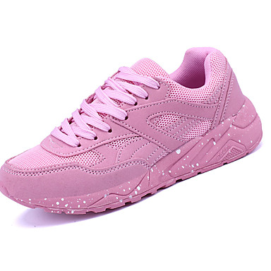 Mulheres Sapatos Couro Ecológico Primavera Verão Tênis Salto Baixo para Preto Cinzento Rosa claro