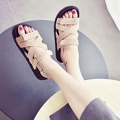 Naiset Sandaalit Comfort Kesä PU Kausaliteetti Musta Manteli Tasapohja