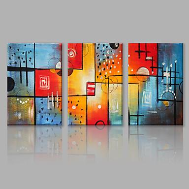 Pintados à mão Abstrato Panorâmico horizontal, Abstracto Tela de pintura Pintura a Óleo Decoração para casa 3 Painéis