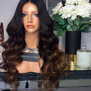 Virgin Human Hair Glueless Lace Front / Lace Front Wig Brazilian Hair Body Wave Wig Middle Part 180% With Baby Hair / Ombre Hair / Natural Hairline Women's Short / Medium Length / Long Human Hair