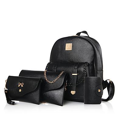 Mulheres Bolsas Couro Ecológico mochila Conjunto de bolsa de 4 pcs para Escritório / Carreira Casual Formal Corrida Ao ar livre Estações