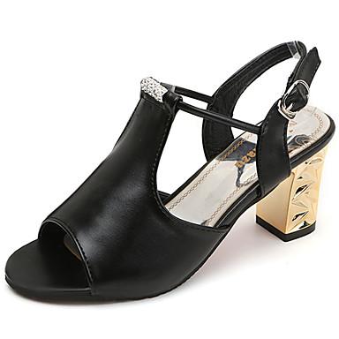 Naisten Kengät PU Kesä Sandaalit Kävely Paksu korko Pyöreä kärkinen Glitterillä varten Valkoinen Musta