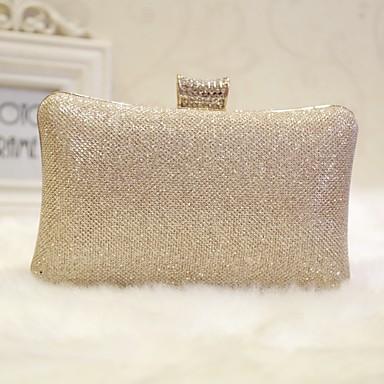 hesapli Çantalar-Kadın's Gece Çantası Suni Deri Solid Altın / Siyah / Gümüş
