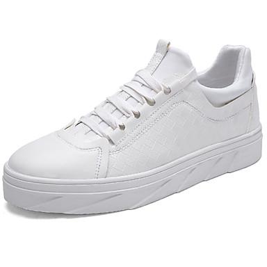 Homens sapatos Borracha Primavera/Outono Conforto Tênis Cadarço para Ao ar livre Branco Preto